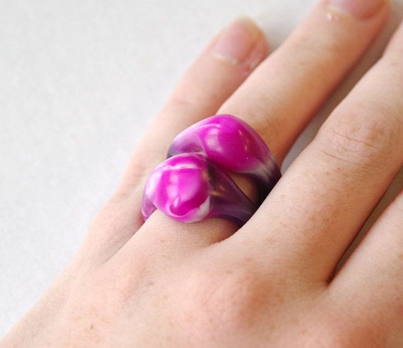 Handmade resin stacking ring set  Purple pink and by LordandPeer