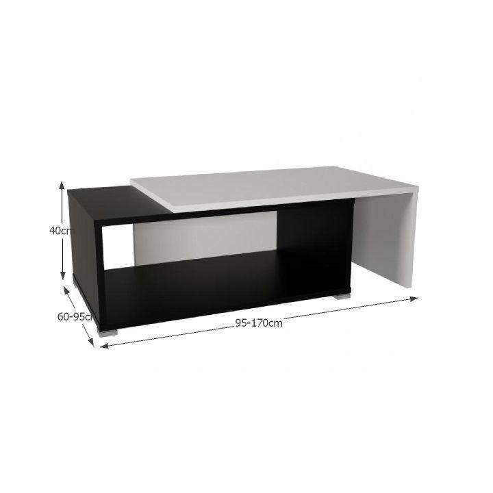 DRON - konferenčný stolík, rozkladací, biela/čierna, Tempo Kondela