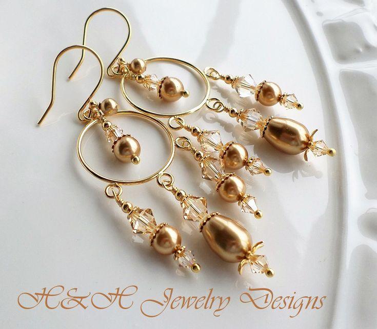 Mejores 115 imgenes de chandelier earrings en pinterest gold pearl chandelier earrings golden shadow swarovski crystal earrings champagne crystal chandelier earrings aloadofball Images