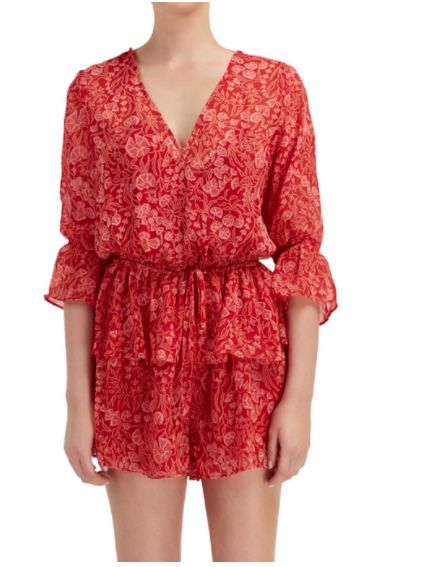 The Fifth Label - Brushstrokes Playsuit Red Floral Dream Print
