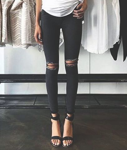 Ripped black jeans with sandals and white tee