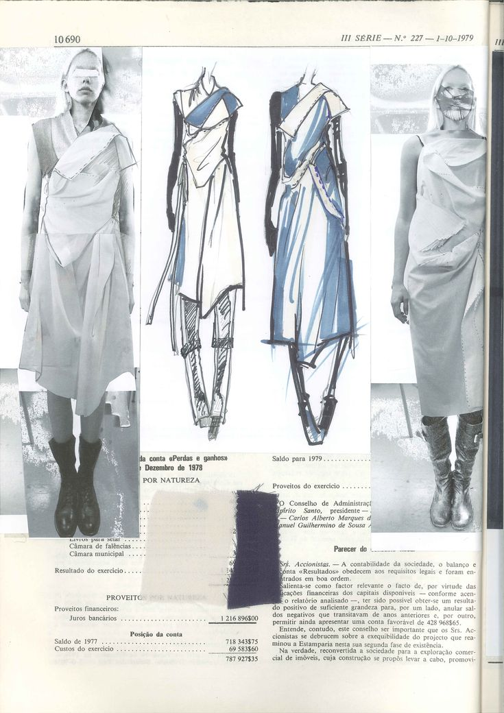 Fashion Sketchbook page layout with dress sketches, fabrics & fashion design development; fashion portfolio // Haizhen Wang