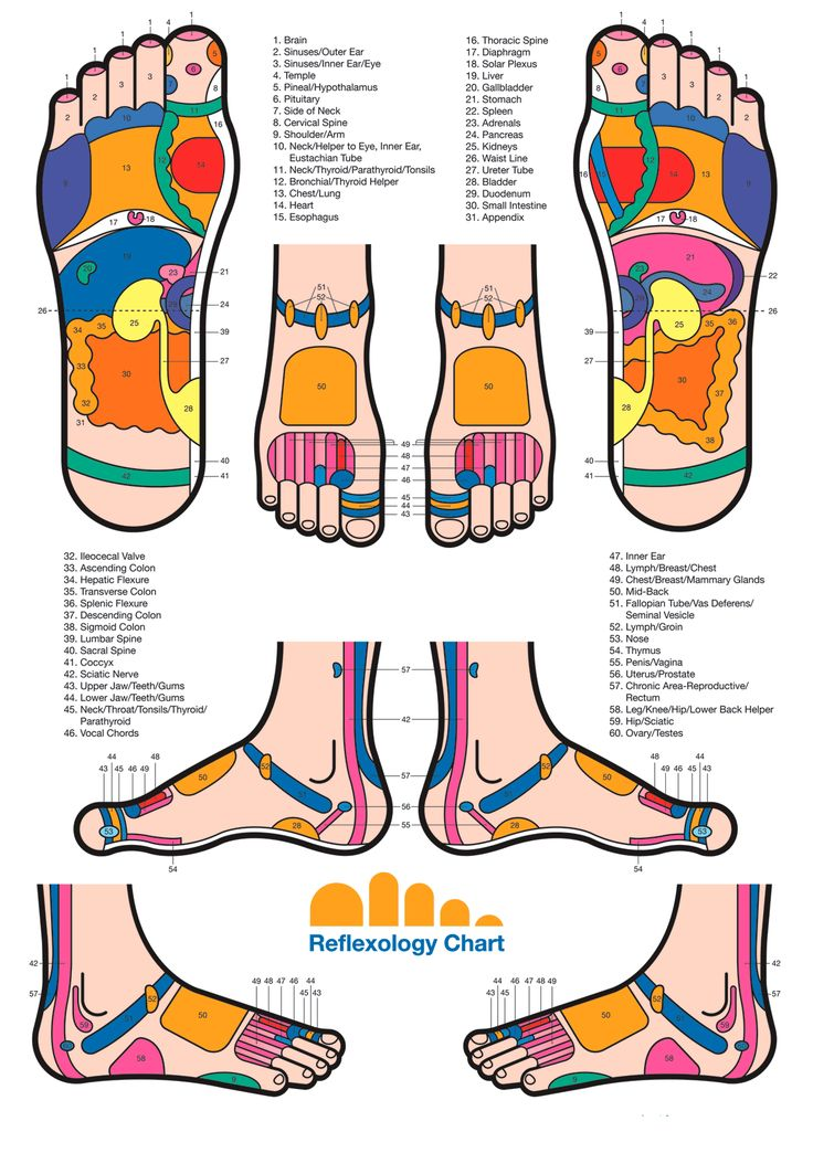 Foot reflexology chart. Google Image Result for http://naplesrolfing.com/wp-content/uploads/2010/06/Reflexology_Foot_Chart1.gif