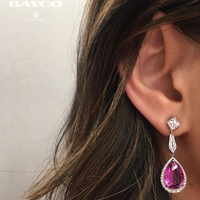 Pink Sapphire and Diamonds Earrings @baycojewels
