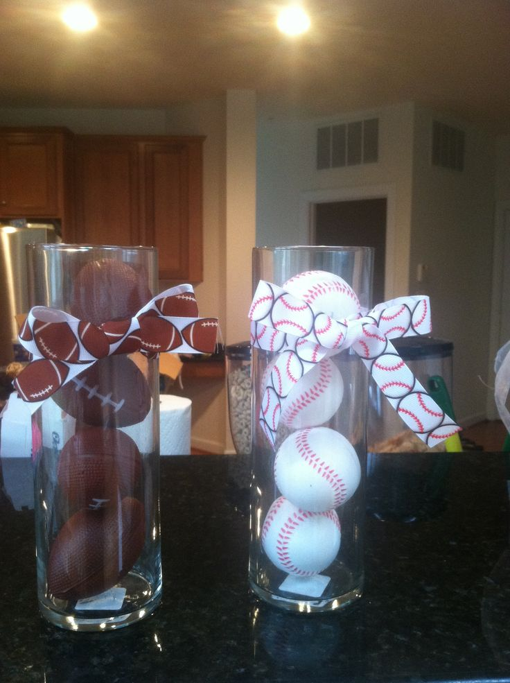 Centerpieces for sports themed baby shower could fill for Baby shower decoration centerpieces