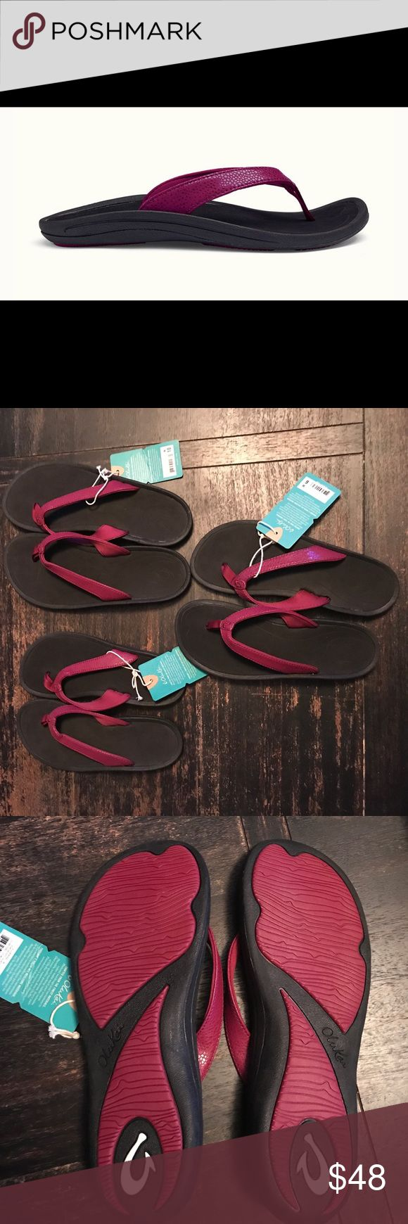 Women's OluKai Kulapa Kai Sandals Brand new, never worn women's OluKai sandals (Pokeberry + Black). With a water-drop strap pattern and vibrant colors, the minimalistic Kulapa Kai proves less can be more. Soft nylon toe post with a delicate laser-etched footbed design. Lightweight, quick-drying, breathable and durable materials built for in and around water. OluKai Shoes Sandals
