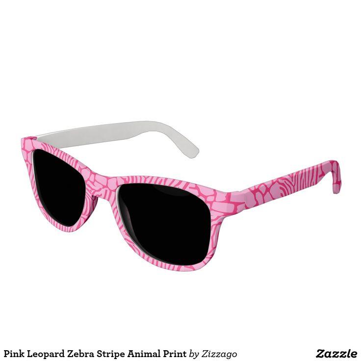 Pink Leopard Zebra Stripe Animal Print Sunglasses