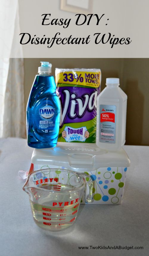 These disposable homemade disinfectant wipes are easy to make, and kid friendly. Just whip up a batch to use around the house for all your cleaning needs. www.TwoKidsAndABudget.com