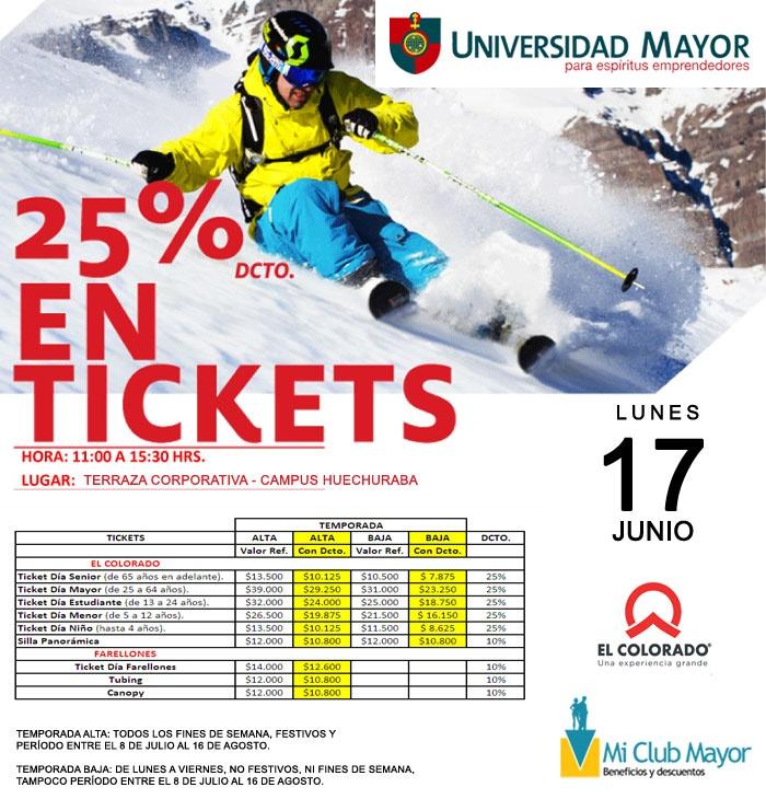 HOY LUNES!  Ticket de Ski con un 25% de DESCUENTO! Pasa por el tuyo a la Terraza Corporativa en Campus Huechuraba de 11 a 15.30 horas.  #estudiantes  #ski #snowboard #umayor #huechuraba