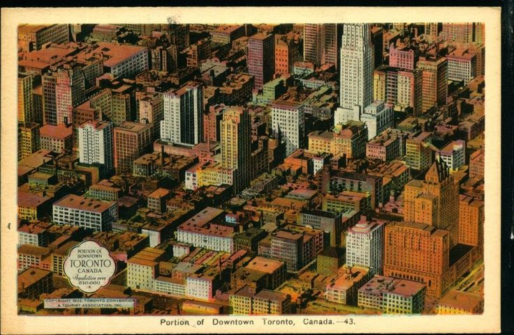 TORONTO CANADA, Aerial View of Downtown, c1920s Vintage Postcard CAN352156