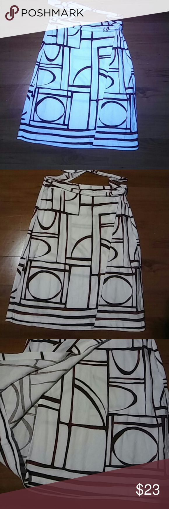 NWT Loft Skirt Maroon and white wrap skirt. 52% linen and 48% rayon. Machine wash cold. Very cute and modern. LOFT Skirts Midi