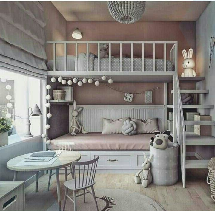 Shared Girls Room Gray With Pink Bed Bunk Bed In 2021 Shared Girls Room Bed For Girls Room Bunk Bed Rooms