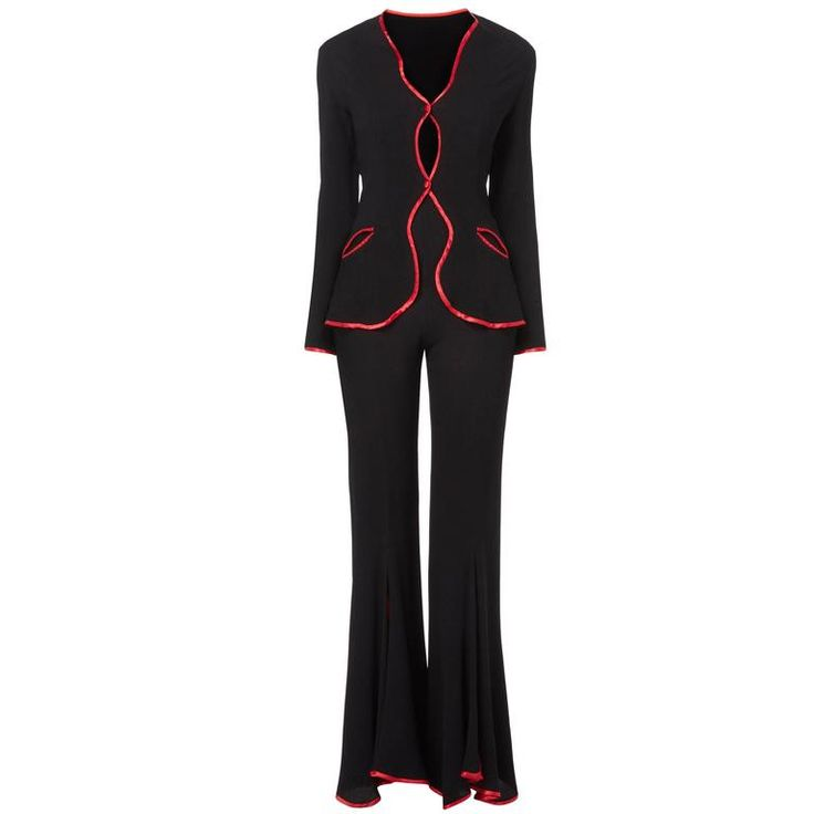 Ossie Clark black trouser suit, circa 1967 | From a collection of rare vintage suits, outfits and ensembles at https://www.1stdibs.com/fashion/clothing/suits-outfits-ensembles/