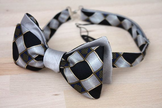 Mens bowtie Black ornament 100%Natural Pure silk men's