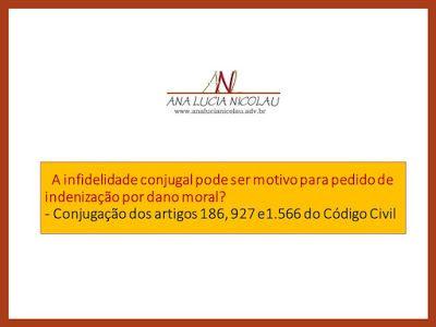 Ana Lucia Nicolau - Advogada: A infidelidade conjugal pode ser motivo para pedido de indenização?
