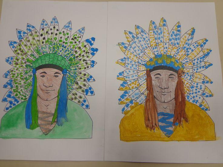 indien coloriés à la peinture et utilisation de divers pinceaux avril 2014 CP CE1