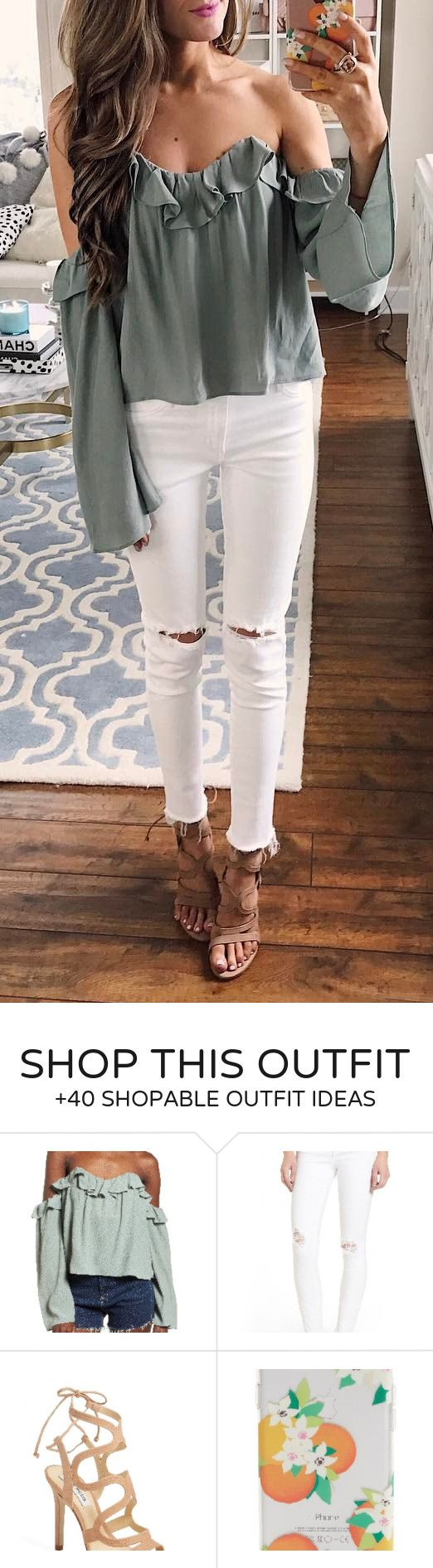 #spring #outfits Khaki Off The Shoulder Blouse + White Ripped Skinny Jeans ☺️