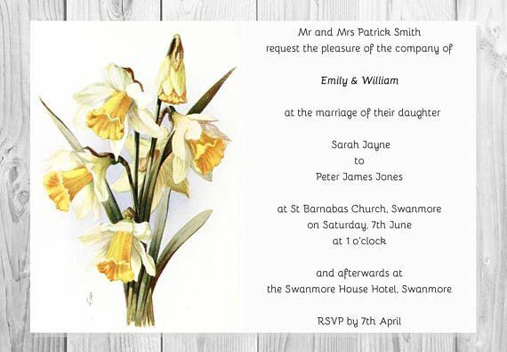 Digital Printable Vintage Yellow & White Daffodils Wedding