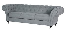 £658.50 GREY 3 SEATER FABRIC CHESTERFIELD SOFA