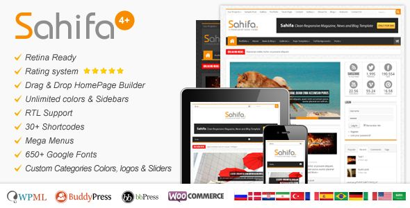 Sahifa – Responsive WordPress News,Magazine,Blog, is a clean, fully responsive magazine, news and blog template that is one of the best-selling themes.