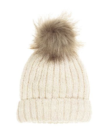 Rib-knit hat in a wool blend with a large faux fur pompom at top. | H&M Accessories