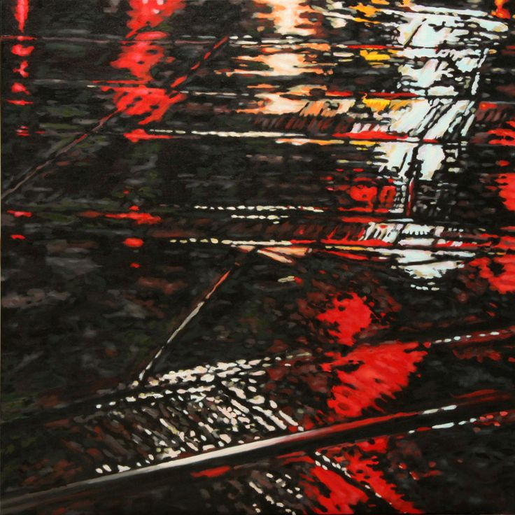 """Parallels iV - oil on canvas, 24 x 24"""" (60 x 60 cm) - rainy streets at night with streetcar tracks"""