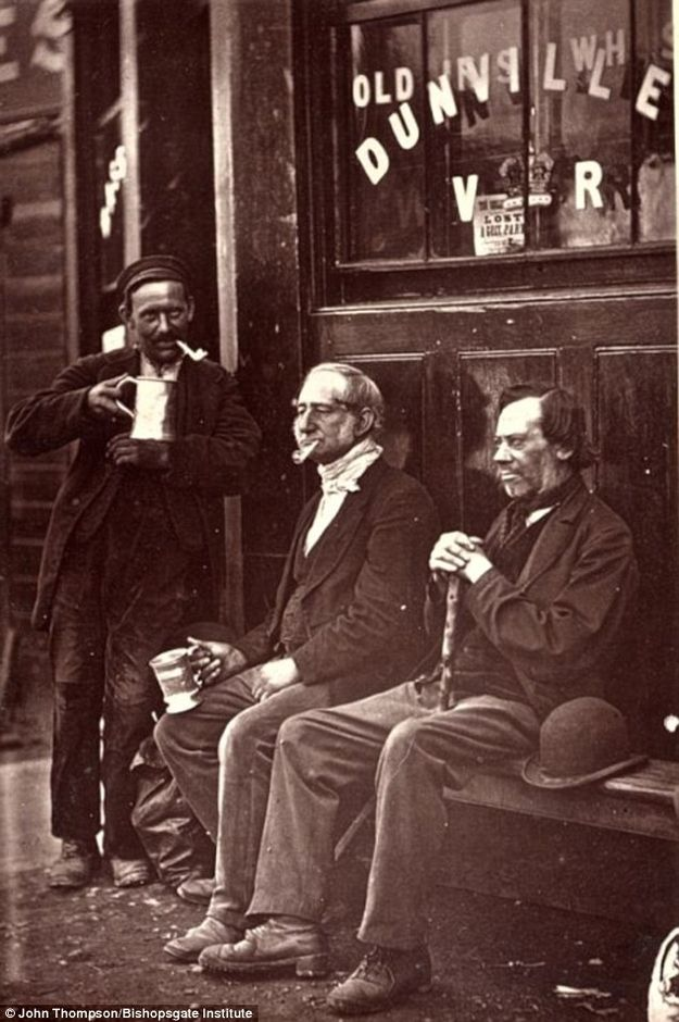 A Quiet Pint..The exotic down and outs of Victorian London ..Taken by John Thompson, In 1876 he set out with writer Adolphe Smith and together the pair spoke to people and the shots were later published in magazine, Street Life in London. The pictures are now stored at the Bishopsgate Institute..