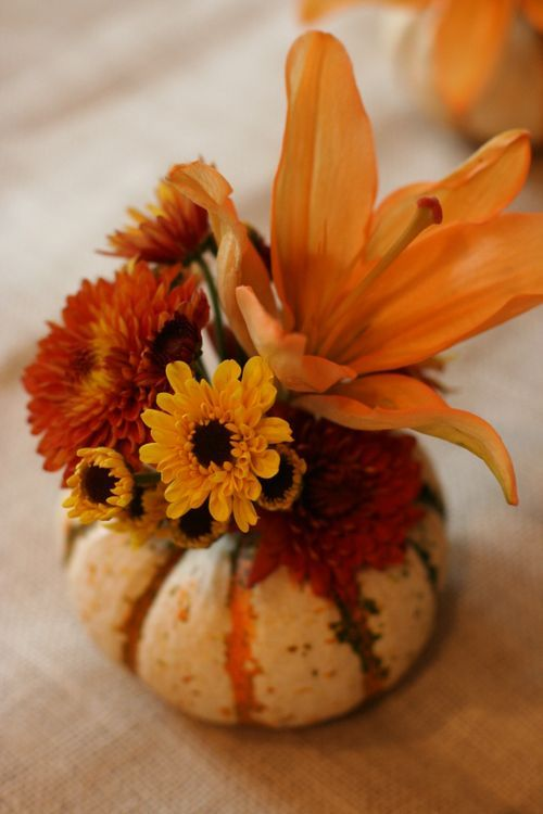 Mini pumpkin flower arrangement