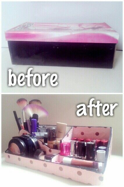 DIY Organizador de Make up feito com caixa de sapato / make up organizer made with shoes box