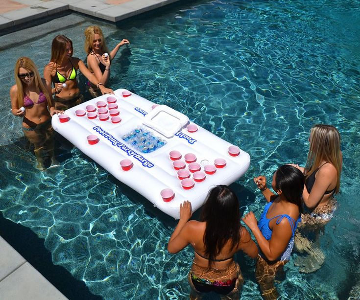 Inflatable Floating Beer Pong Table & Cooler Keeps The Fun In The Water Longer -  #beer #beerpong #party #pool