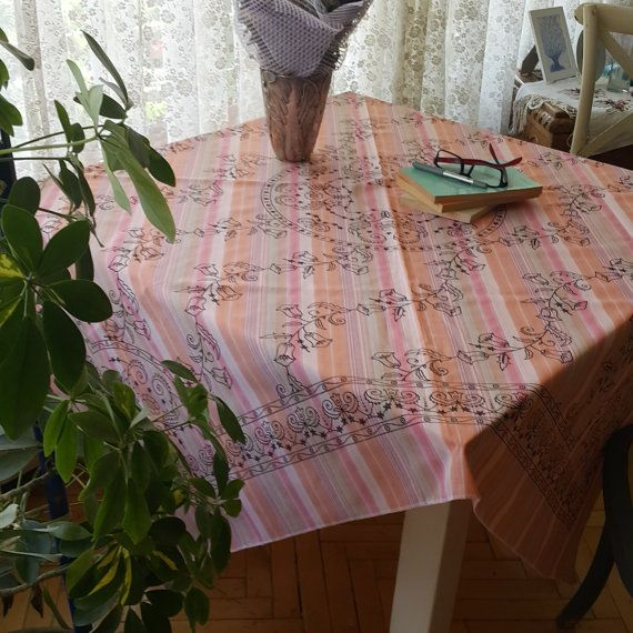Check out this item in my Etsy shop https://www.etsy.com/listing/456965826/pink-tablecloth-hand-print-flower-motifs