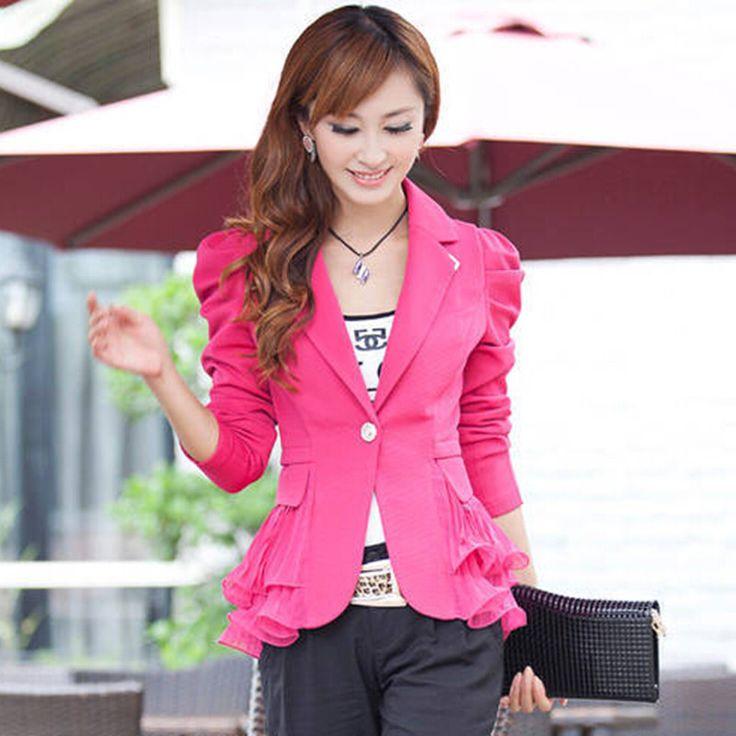 女性のブレザージャケットスーツカジュアルキャンディコートジャケットシングルボタンにスプライシング甘い上着ブレイザーfemininoプラスサイズ6xl lq105