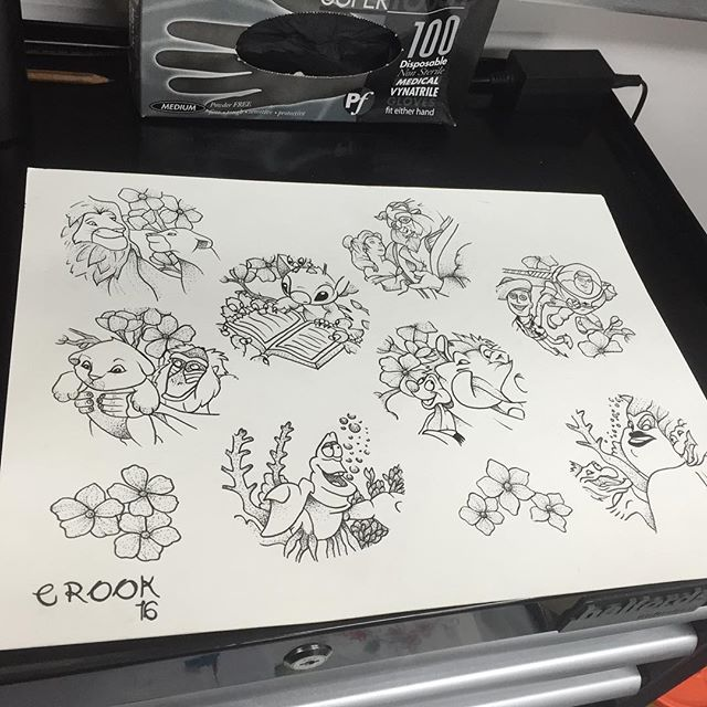 I still have a few on this sheet left to tattoo or I will be drawing up some more if you have any requests. Will sort a good deal out as well ⚡️ #tattoo #Disney #dotwork #disneytattoo