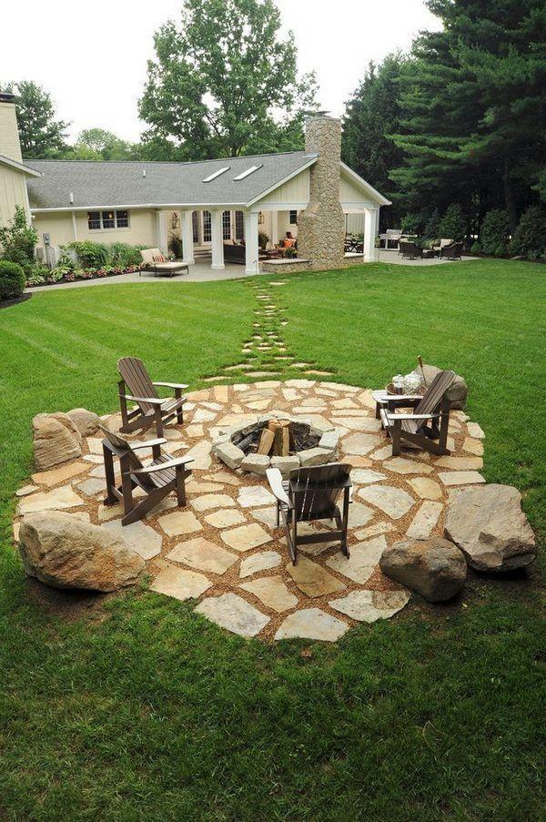Natural Stone Pavers Landscape Design Ideas Firepit Outdoor