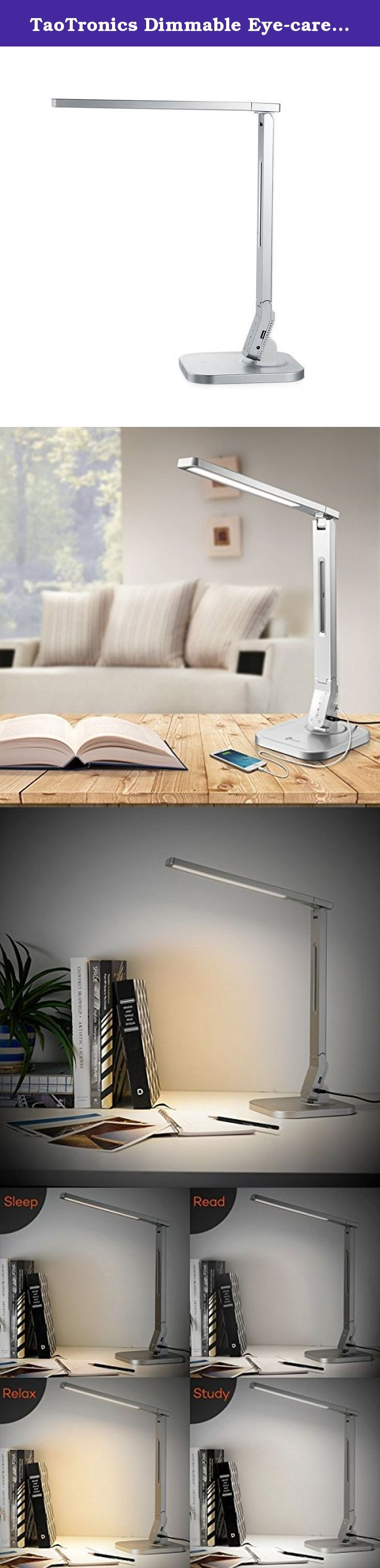 TaoTronics Dimmable Eye-care LED Desk Lamp(Silver, 4 Lighting Modes, 5-Level Dimmer, Touch-Sensitive Control Panel, 1-Hour Auto Timer, 5V/2A USB Charging Port,, Mobile Device Charger). TaoTronics Elune TT-DL06(Silver) is the new generation energy-saving and eco-friendly LED desk lamp and the perfect source for office, home, dorm, etc. With its elegant and ergonomic design, this lamp is ideal for for your decoration while exceeding your lighting requirements.