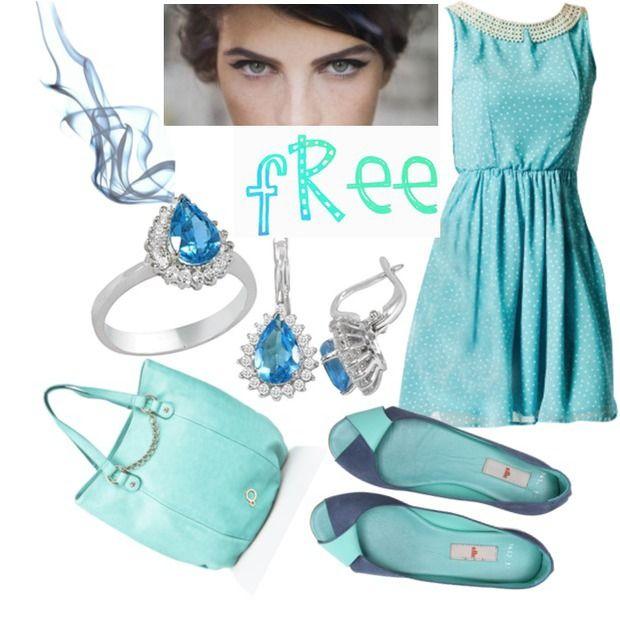 Mavi elbise, mavi çanta, mavili babet, mavi taşlı küpe, mavi taşlı yüzük, mavi topaz küpe, mavi topaz yüzük - Blue dress, black bag, blue ballerina, blue stone earrings, blue stone ring, blue topaz earrings, blue topaz rings