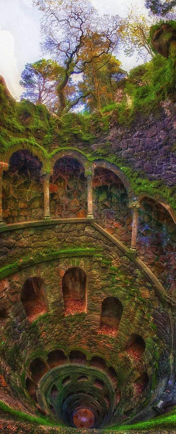 The Iniciatic Well, Entering the Path of Knowledge - Regaleira Palace, Sintra, Portugal.