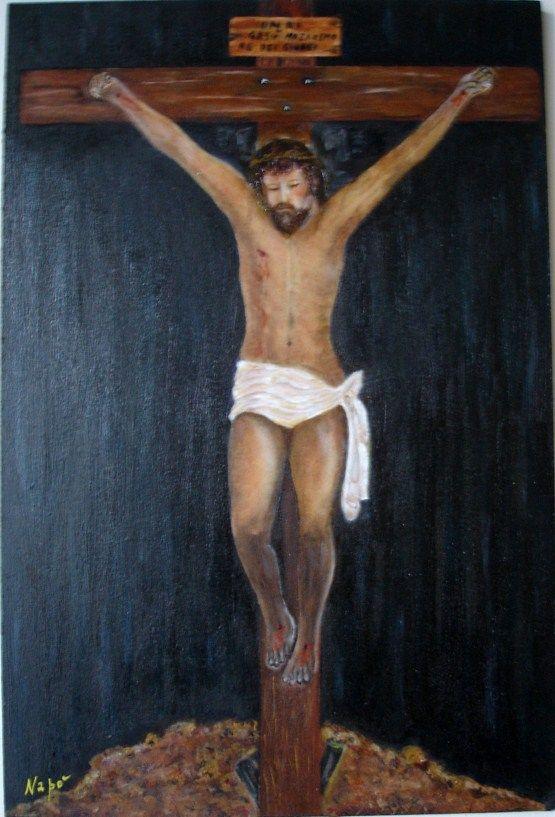 Finale alla vita terrena di Gesù. Olio su legno