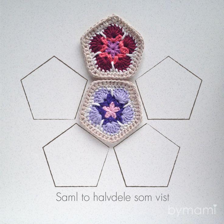 bymami hækle hæklet african flower bold femkant baby legetøj opskrift diy tutorial crochet crocheted ball pentagon free freebie gratis pattern phototutorial