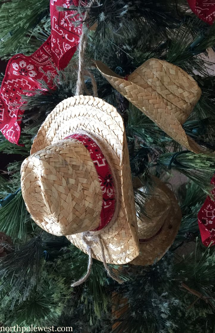 Cowboy Christmas Ornament Straw Cowboy Hat Great For Country Or Western  Christmas Trees