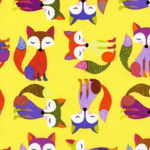 cotton fabric Timeless Treasures - Yellow Fox