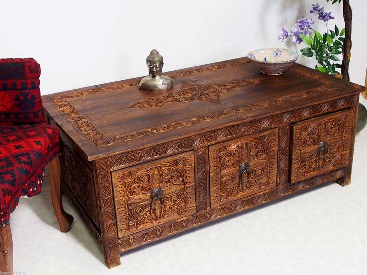 120x67cm Kolonialstil Wohnzimmertisch Tischtruhe Tisch Couchtisch Schubladen 16A