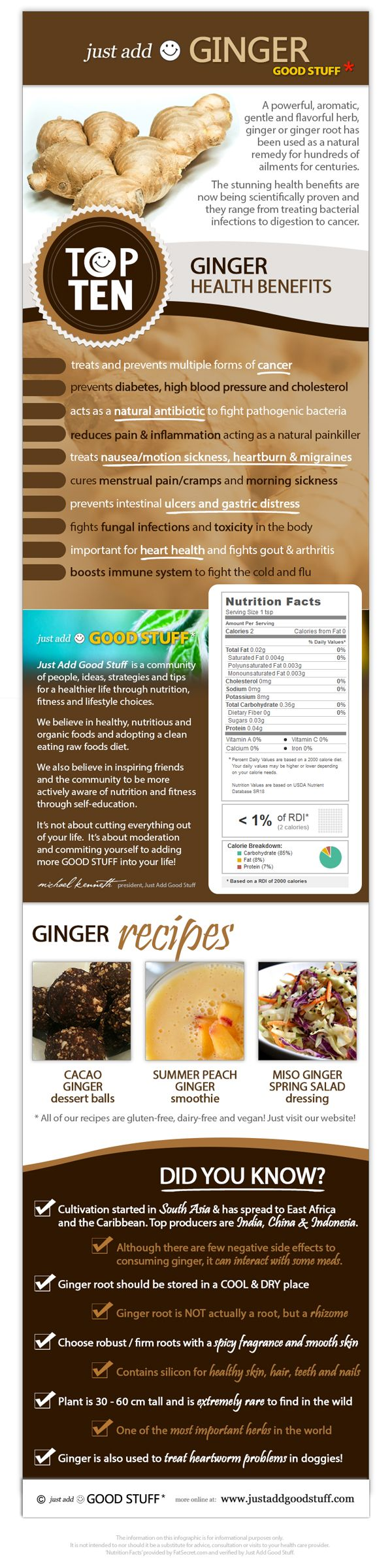 #GINGER #Infographic > Top 10 health benefits of ginger, interesting facts and great recipes online now > http://www.justaddgoodstuff.com/infographic-ginger/