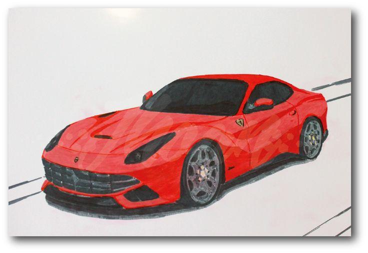 Ilustración sobre papel brillante (propalcote) con marcadores de color.