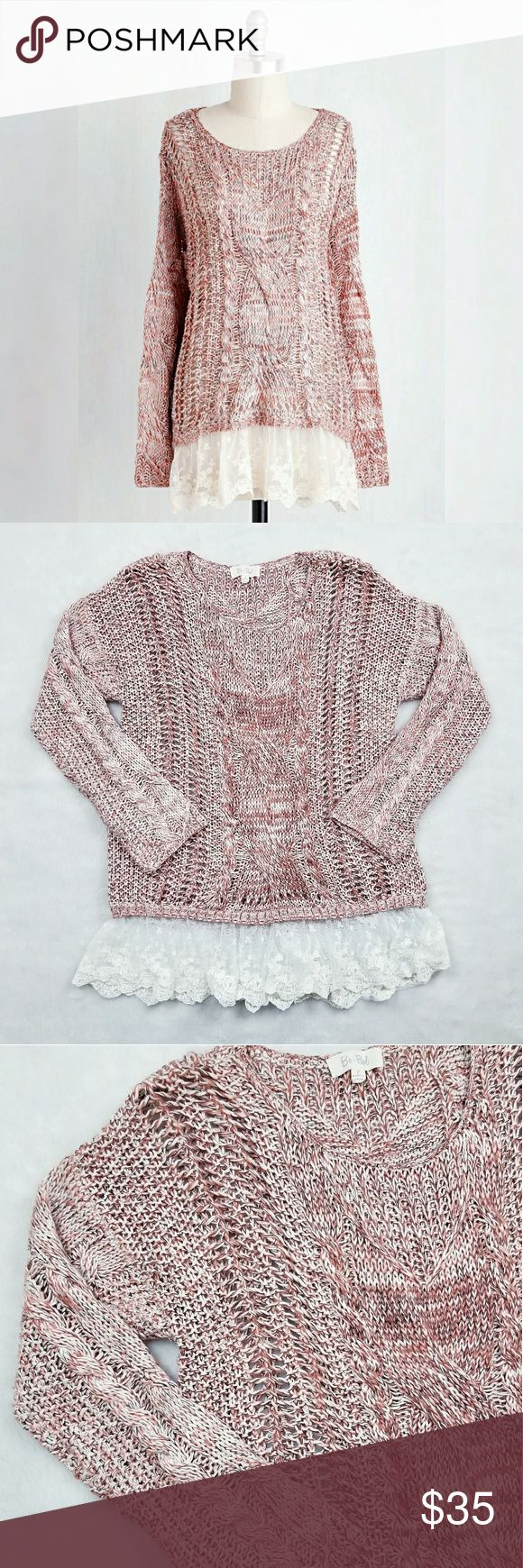 "Dusty Rose Marled Open Knit Sweater Tunic Bo•Bel Boutique brand dusty rose marled open knit sweater tunic featuring a delicate white lace trim bottom hem. Great pre-owned condition.   Approximate measurements (laying flat): Bust - 42"" Length - 29"" Sweaters"