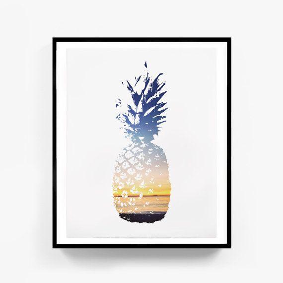 Pineapple Print Pineapple Art Summer Print by MelindaWoodDesigns #pineappledecor