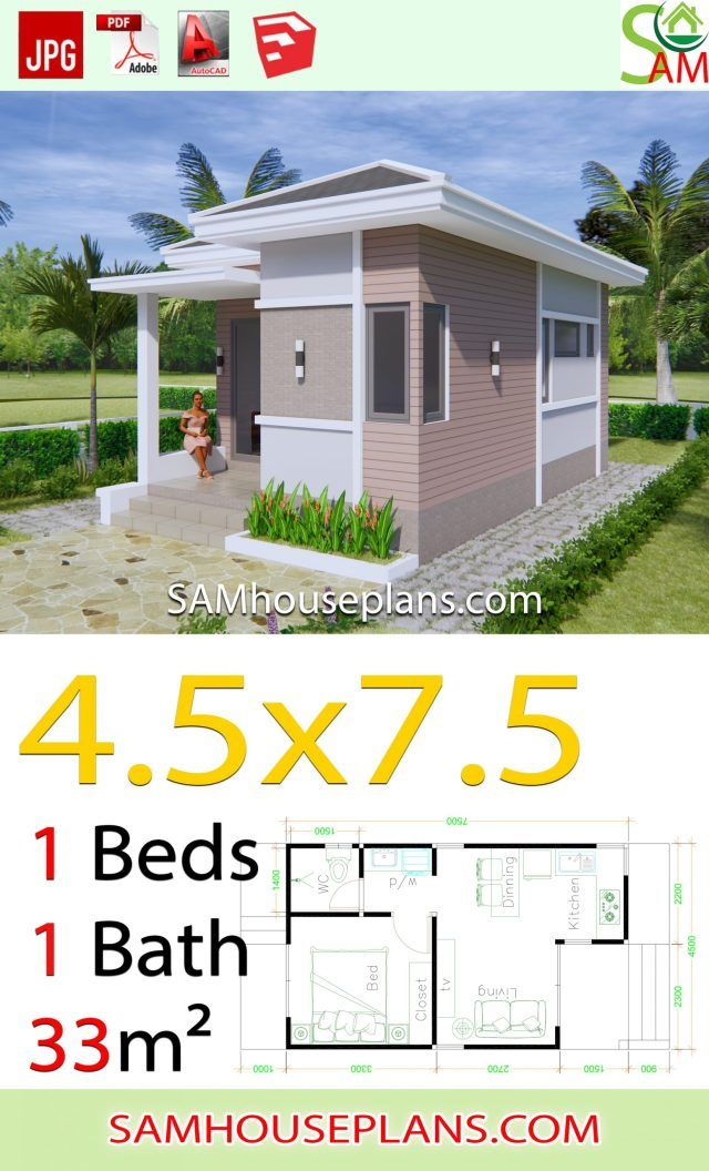 Small House Plans 4 5x7 5 With One Bedroom Hip Roof Sam House Plans Small House Layout House Construction Plan Small House Design Plans