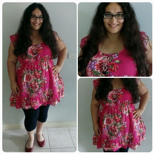 Hot Pink Floral Print - Yours Clothing Tunic - Plus Size Fashion Outfits - Styling My Curves