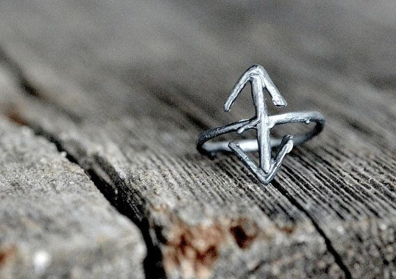 TEIWAZ Rune Ring sterling silver twigs  Victory Warrior by redsofa, $80.00