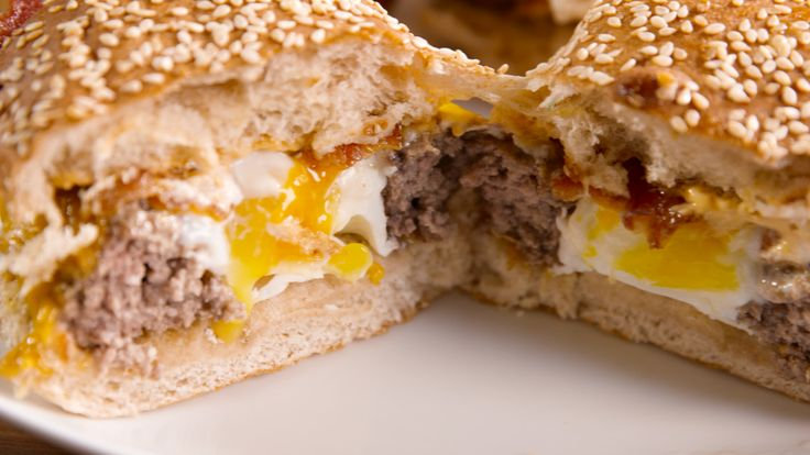 Egg-In-A-Whole-Burger: Forget scrambled. We'll take our eggs in a burger. You've never seen a breakfast burger like this before. ​